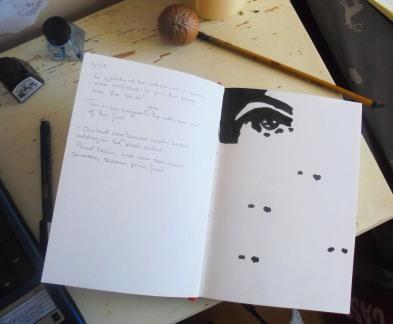 the eye in sketchbook